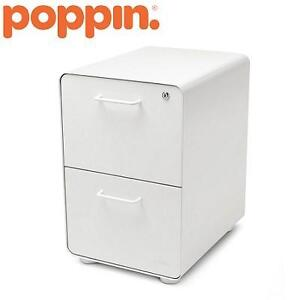 NEW POPPIN WHITE FILE CABINET STOW 2-DRAWER CABINET 102155911
