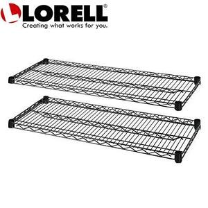 2 NEW LORELL WIRE SHELVES 2-CARTON EXTRA SHELVES FOR WIRE SHELVING - BLACK 104006795