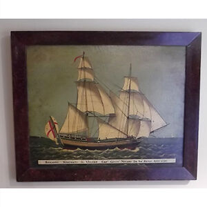 Antique Oil on Canvas of a Brig