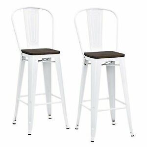 Phenomenal Dhp Luxor Metal Bar Stool With Wood Seat Set Of 2 30 White Short Links Chair Design For Home Short Linksinfo