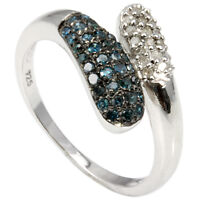 BLUE & WHITE DIAMONDS CRAFTED IN STERLING SILVER / PLATINUM RING