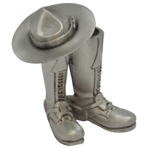 RCMP Pewter Boots and Stetson Paperweight