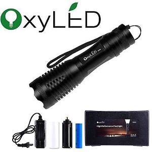 NEW OXYLED LED FLASHLIGHT MD50 183247469 500 LUMENS BUNDLE WITH RECHARGEABLE BATTERIES, BLACK