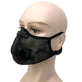 Filtered face mask for gym workout. Camo