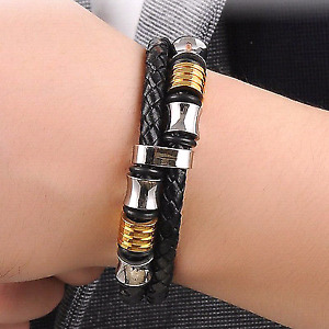 Men's Stainless Leather Bracelet Silver Gold
