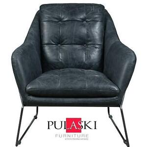 NEW PULASKI LEATHER ACCENT CHAIR - 127832932 - MARINA BLACK LEATHER INDUSTRIAL