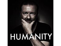 Ricky Gervais Humanity Tour x 2 tickets