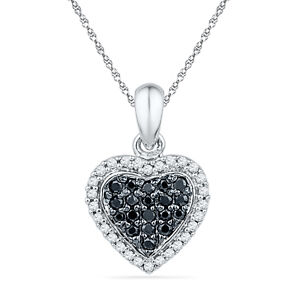 Heart Pendant With Black and White Diamonds