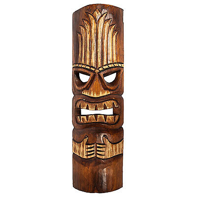 Polynesian Carved Tiki God Mask Leaf Design, Island Vibe, Poolside, Patio, Bar