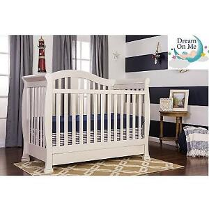 NEW DREAM ON ME ADDISON CRIB 662-FW 150429516 5 IN 1 CONVERTIBLE FRENCH WHITE