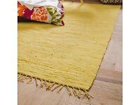 Happy yellow 100% cotton rug, hand woven, 160cmx230cm
