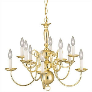 NEW THOMAS LIGHTING BRASS COLONIAL STYLE 12 LIGHT CHANDELIER