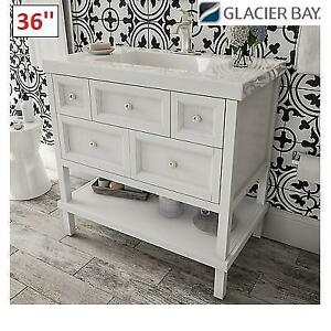 NEW* GLACIER BAY ASHLAND II VANITY ALIIP2C-WH 247091541 36 WHITE CABINET STONE EFFECT COUNTER TOP BATHROOM STORAGE C...