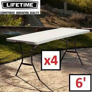 4 NEW LIFETIME 6' FOLDING TABLES - 131183923 - WHITE GRANITE PLASTIC