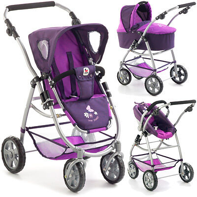 Bayer Chic 2000 Puppenwagen Emotion All In Kombi 3 in 1 Pflaume lila Babyschale