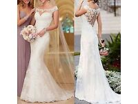 Stock White Mermaid lace Wedding dress Bridal Gown Size 12