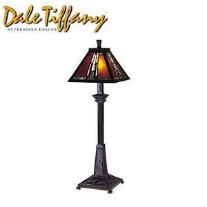 NEW DALE TIFFANY BUFFET LAMP AMBER MONARCH BUFFET LAMP - MICA BRONZE  ART GLASS 99067334