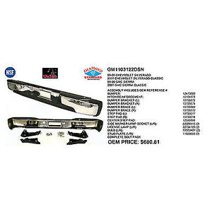 New Chrome 1999-2007 GMC Sierra Rear Bumper Assembly