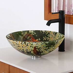 NIB Fontaine Koi & Lily Glass Vessel Sink!