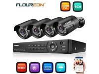 FLOUREON 1 X 8CH 1080P 1080N ONVIF AHD DVR + 4 X Outdoor 3000TVL 1080P 2.0MP Camera Security Kit UK