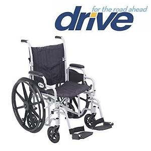 "NEW DRIVE MEDICAL WHEELCHAIR 20"" TR20 189734842 POLY FLY LIGHT WEIGHT TRANSPORT CHAIR SWING AWAY FOOTRESTS"