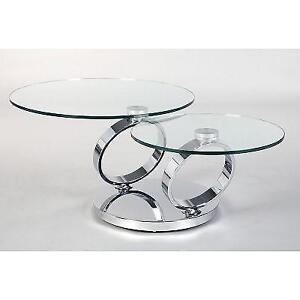 NEW* MOTION COFFEE TABLE CT6233 139744366 CHROME FRAME MIRROR STAINLESS STEEL BASE CLEAR TEMPERED GLASS