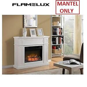 """NEW FLAMELUX 41"""" FIREPLACE MANTEL ZCUMBRIA 216803082 CUMBRIA WHITE ELECTRIC  41"""" x 11 7/8"""" x 34 1/8"""""""