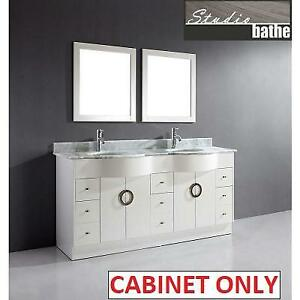 NEW* STUDIO BATHE 72' VANITY ZOE 72 186606228 CABINENT ONLY ZOE BATHROOM WHITE