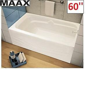 NEW* MAAX AVENUE  60'' BATH TUB 105927-000-002-001 224903162 WHITE RIGHT HAND DRAIN ALCOVE