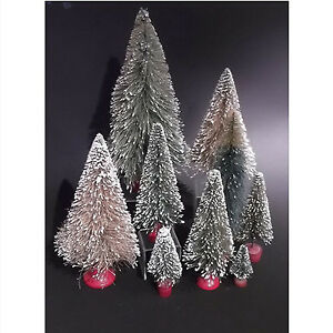Set of 9 vintage brush Christmas trees
