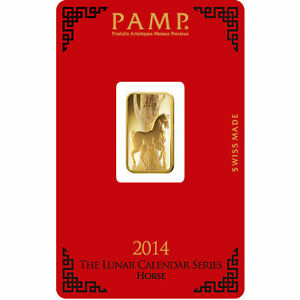 5 Grammes/Gram Lingotin Or Gold PAMP Cheval Horse Bar 9999