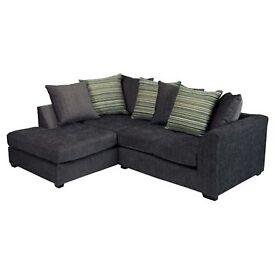 Corner Sofa: Toronto Fabric Left Facing (Charcoal)