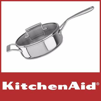 NEW KITCHENAID 24CM STAINLESS STEEL TRI-PLY SAUTE PAN RRP $199
