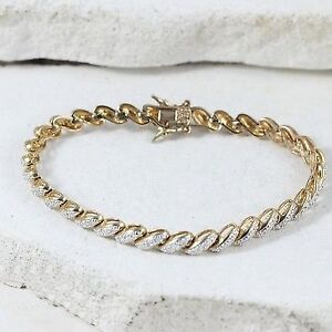 """Sterling Silver SIGNED DIAMOND Accent San Marco Bracelet 7"""""""