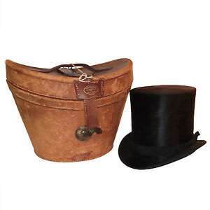 19th century men's black beaver silk top hat with leather case