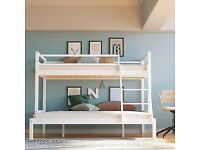 NEW DISCOUNTED OFFER -TRIO WOODEN BUNK BED FRAME DOUBLE BOTTOM & SINGLE TOP HIGH QUALITY