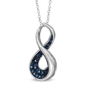 Caribbean blue real  diamond infinity necklace