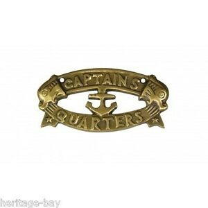 Antique brass captains quarters nautical decor sign for for Decor quarters