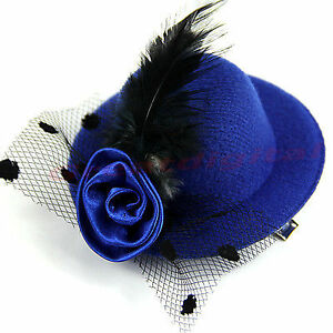 Womens Millinary Fascinator Mini Top Hat With Hair Clip - New