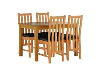 Ashdon table with 4 wooden leather seats chairs dining set