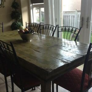 Harvest Table, server and 8 chairs