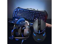 Gaming PC keyboard wireless mouse and headphones for sale