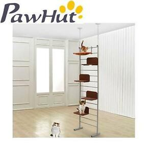 NEW PAWHUT CLIMBING CAT TREE TOWER FLOOR TO CEILING ADJUSTABLE STAGGERED CAT TREE TOWER 104000171