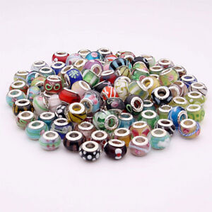 LOT 50 Pieces Mix Assorted European Sterling Silver Murano Glass Beads Charms