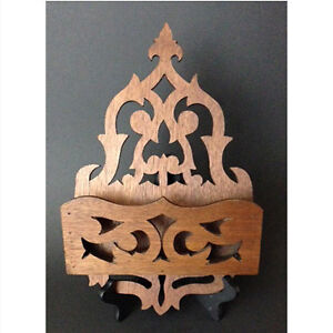 Victorian Gothic-style walnut wall box