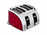 AEG AT7104R-U 4-Slice Toaster in Red with 900W Power and 7 Browning Control Settings