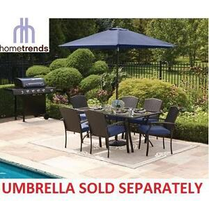 NEW HOMETRENDS 7PC DINING SET - 132450848 - WITH BLUE CUSHIONS