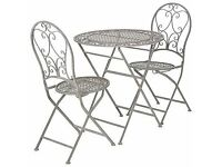 OKA designer Rivoli Parisian-style outdoor bistro dining table and 2 matching chairs BRAND NEW