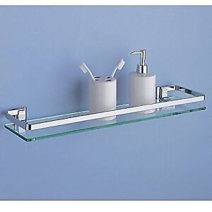 Miraculous Organize It All Wall Mounting Bathroom Glass Shelf With Chrome Finish And Rail Download Free Architecture Designs Scobabritishbridgeorg