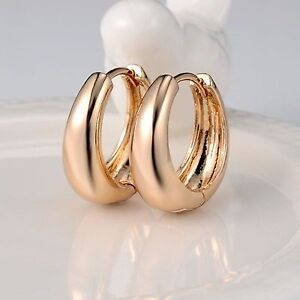 18k Yellow Gold Plated Earrings 15MM Smooth Hoop Huggie